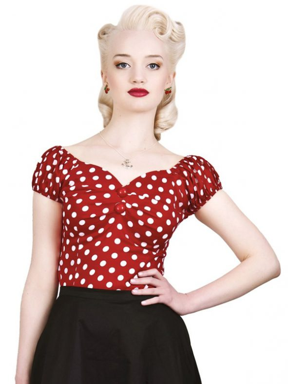 DOLORES TOP POLKA | RED & WHITE-0