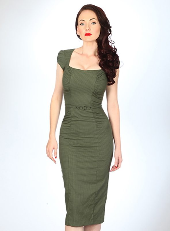 VERDANT DRESS | OLIVE HOUNDSTOOTH-0