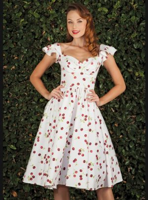 ELLAD WHITE CHERRY SWING DRESS-0