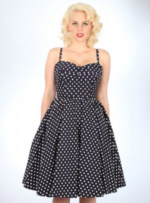 SUMMERTIME SWING DRESS | NAVY WHITE DOTS-0