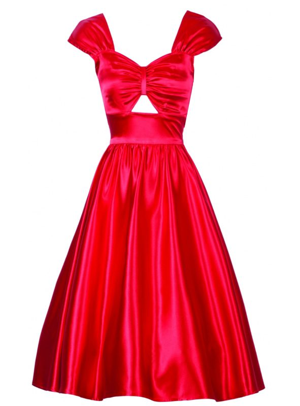 PHEBE SWING DRESS | RED SATIN-0