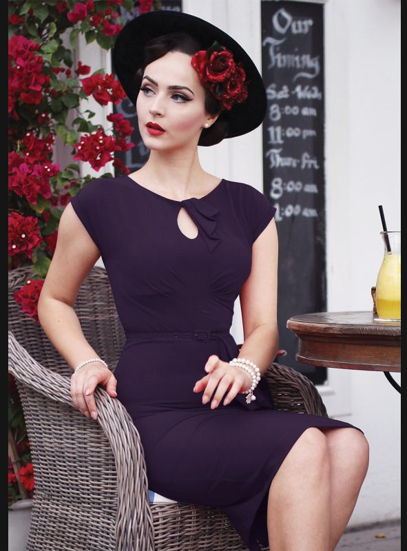 TIMELESS FITTED DRESS | EGGPLANT-0