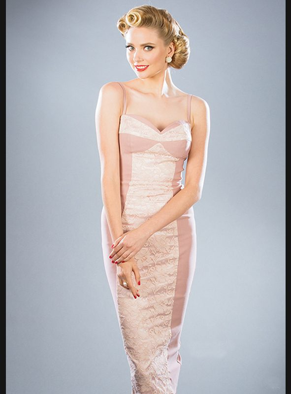 VIRGINIA PINK LACE FITTED DRESS-0