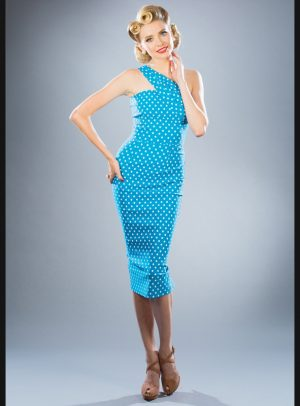 KENNEDY FITTED DRESS | TURQUOISE WHITE DOT-0