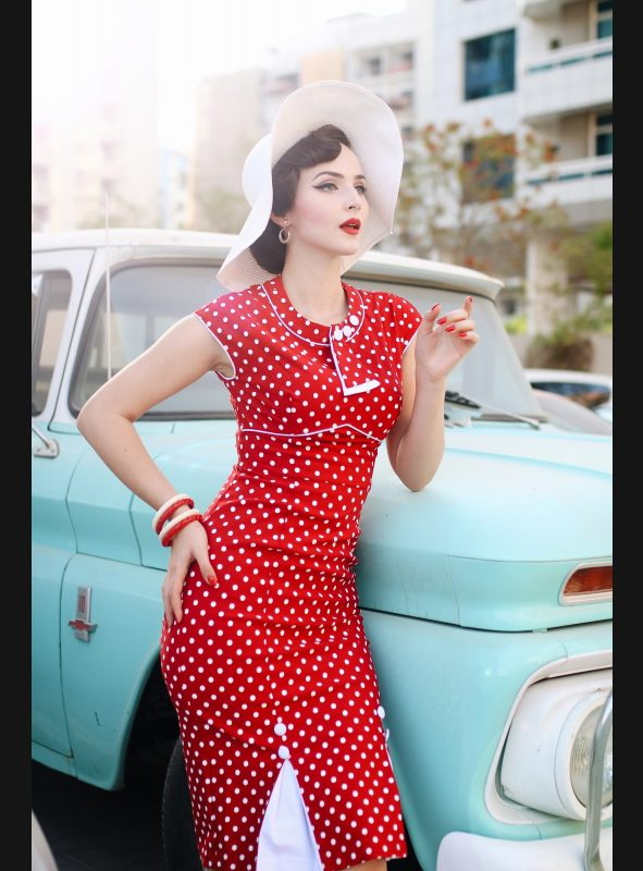 30's Bombshell Red White Dot Fitted Dress-0