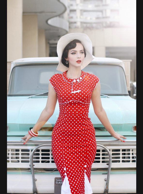 30's Bombshell Red White Dot Fitted Dress-922
