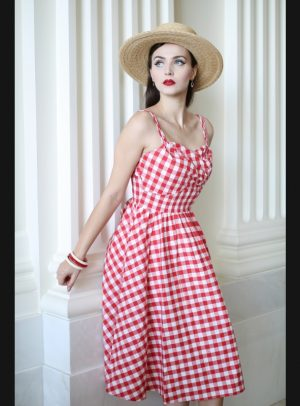 ARANA RED GINGHAM SWING DRESS-0