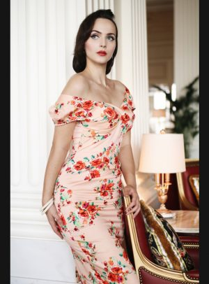 BILLIONAIRE BLUSH FLORAL FITTED DRESS-0