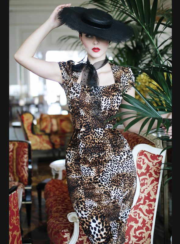 CELEBRITY LEOPARD FITTED DRESS-920
