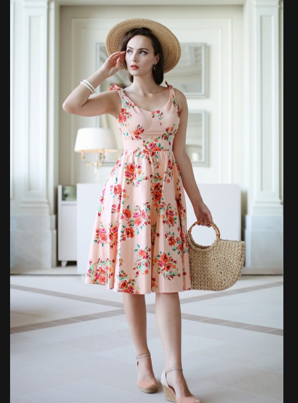 ESTELLO BLUSH FLORAL SWING DRESS-0