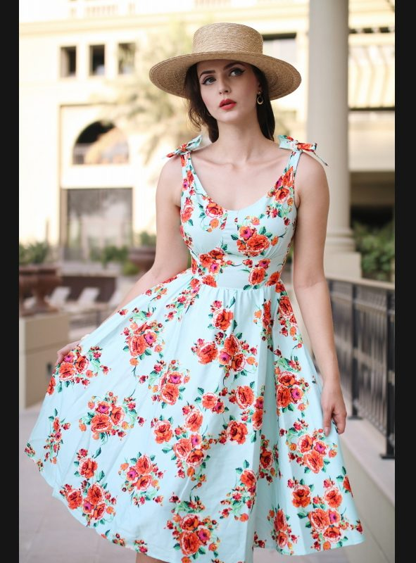 ESTELLO MINT FLORAL SWING DRESS-0
