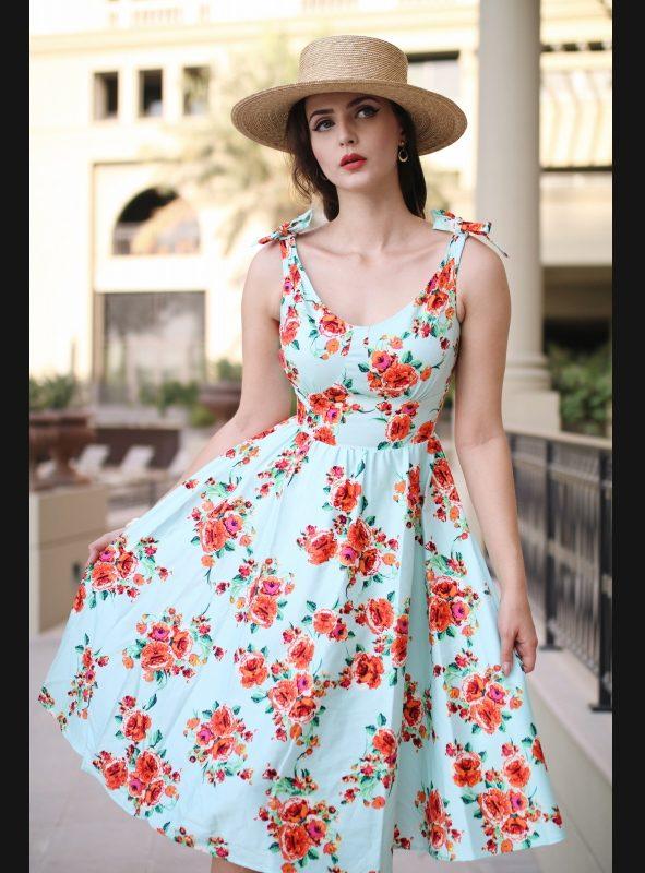 ESTELLO MINT FLORAL SWING DRESS-0