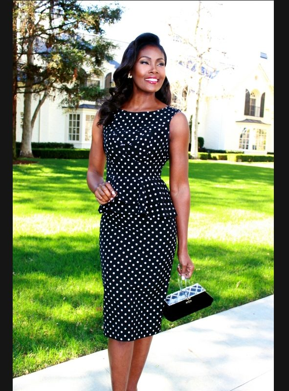 LOTTE FITTED DRESS BLACK WITH DOT-0