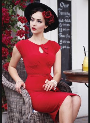 TIMELESS FITTED DRESS   RED-0