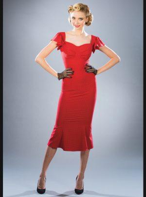 TULSA A-LINE DRESS   RED BLACK DOT-0