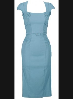 CELEBRITY STEEL BLUE FITTED DRESS-0